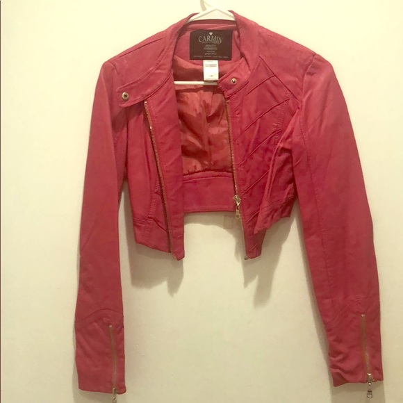 fe771002b Girls Pink Faux Leather Jacket